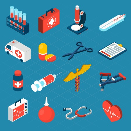 Illustration pour Medical isometric icons set with first aid kit ambulance syringe isolated vector illustration - image libre de droit