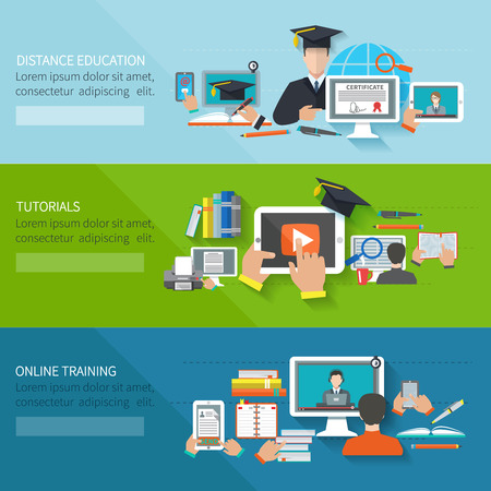 Photo pour Online education flat horizontal banner set with distance tutorials and training elements isolated vector illustration - image libre de droit