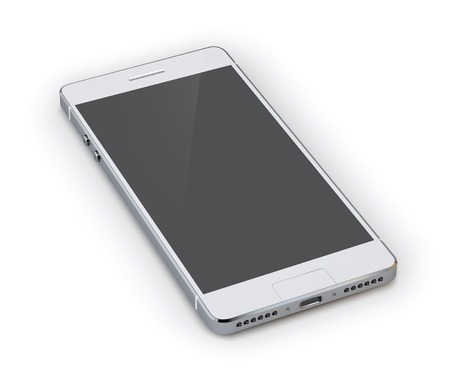 Ilustración de Realistic 3d grey smartphone device isolated on white background vector illustration - Imagen libre de derechos