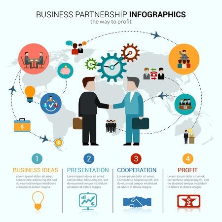 Ilustración de Business partnership infographics with idea presentation cooperation profit symbols and world map vector illustration - Imagen libre de derechos