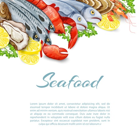 Seafood products background with salmon shrimp crab shellfish mollusk vector illustration