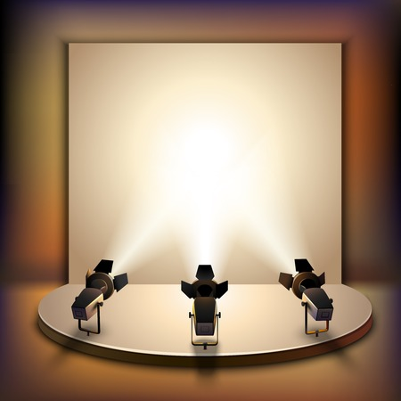 Illustration for Show studio film scene empty stage interior with spotlights realistic vector illustration - Royalty Free Image