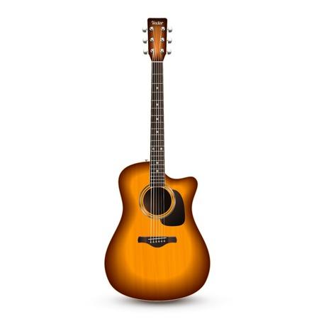 Illustration pour Realistic wooden acoustic guitar isolated on white background vector illustration - image libre de droit