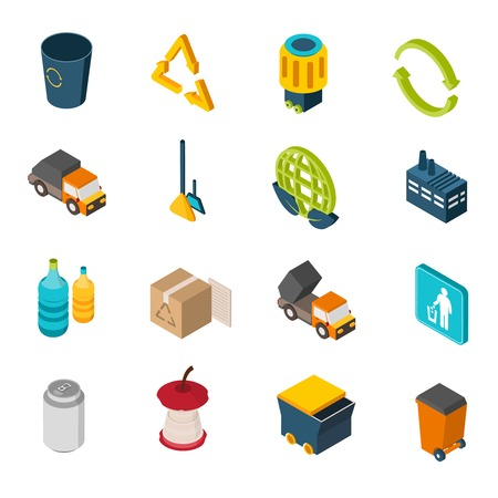 Illustration pour Garbage isometric icons set with trash can recycling symbol and truck isolated vector illustration - image libre de droit