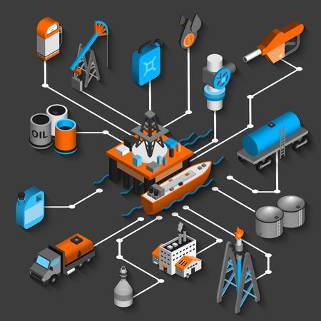 Illustration pour Petroleum isometric flowchart decorative concept with oil shipping and transportation symbols vector illustration - image libre de droit