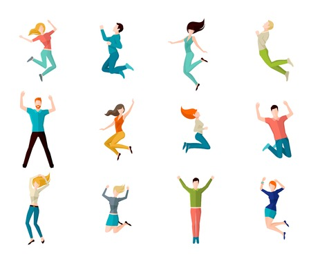 Photo pour Jumping high male and female people avatar set isolated vector illustration - image libre de droit