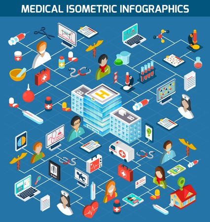 Illustration pour Medical isometric infographics with doctor nurse pharmacist and hospital building 3d symbols vector illustration - image libre de droit