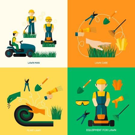 Illustration pour Lawn design concept set with worker man plant equipment and care flat icons isolated vector illustration - image libre de droit