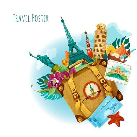 Illustration pour World landmarks travel background with travel tickets suitcase and flower vector illustration - image libre de droit