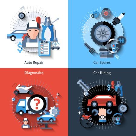 Illustration pour Car repair design concept set with auto spares tuning diagnostics flat elements isolated vector illustration - image libre de droit