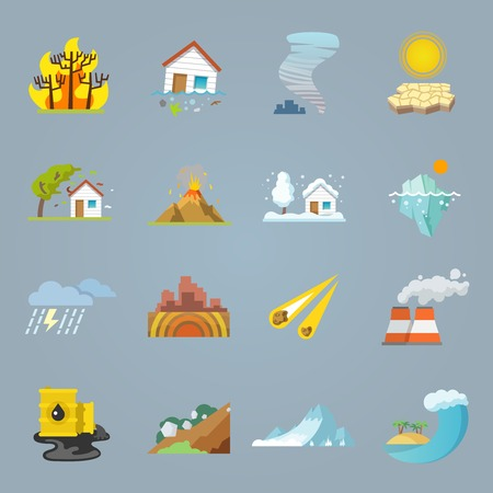 Illustration pour Natural disaster icons flat set with hurricane tornado forest fire isolated vector illustration - image libre de droit