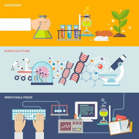 Illustration pour Science and research horizontal banner set with experiment irrefutable proof and future flat elements isolated vector illustration - image libre de droit