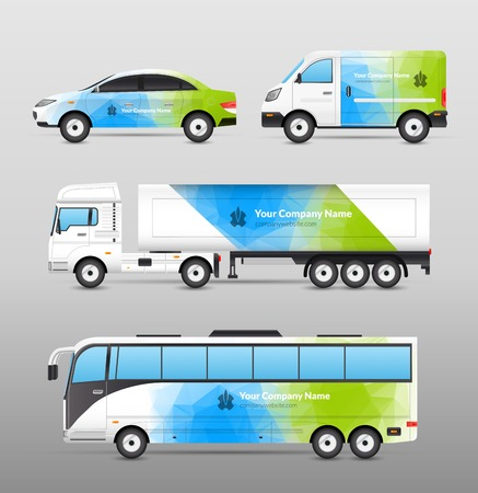 Foto de Transport advertisement design in blue and green abstract template decorative icons set isolated vector illustration - Imagen libre de derechos