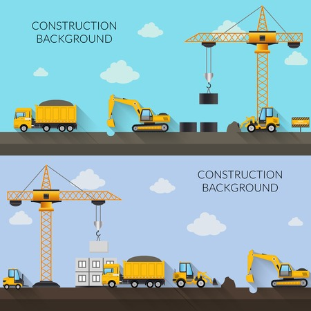 Illustration pour Construction background with cranes tractor trucks and industrial machinery vector illustration - image libre de droit