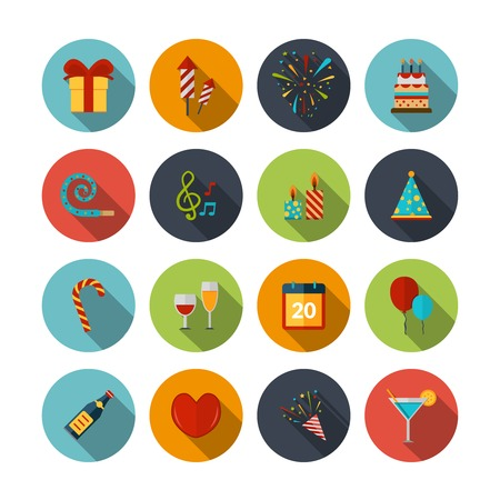 Illustration pour Celebration icons set with cocktail confetti fireworks cake balloons isolated vector illustration - image libre de droit