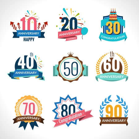Illustration for Anniversary happy holiday festive celebration emblems set with ribbons isolated vector illustration - Royalty Free Image
