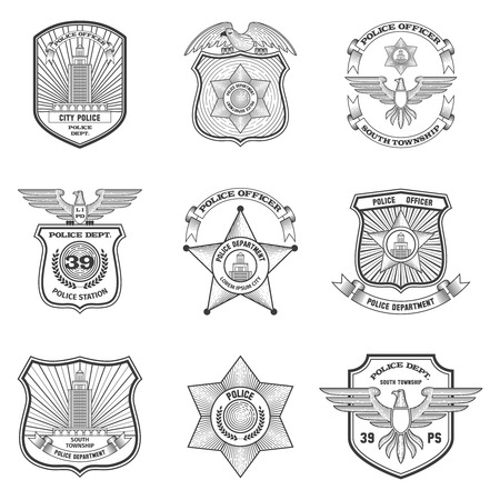 Illustration pour Police officer federal cop department emblems black set isolated vector illustration - image libre de droit