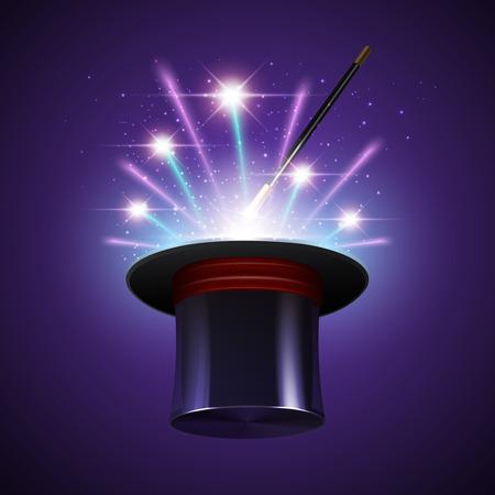 Ilustración de Magic show background with realistic magician hat stick and fireworks vector illustration - Imagen libre de derechos