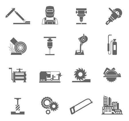Illustration pour Metal-working industry black icon set with power equipment isolated vector illustration - image libre de droit