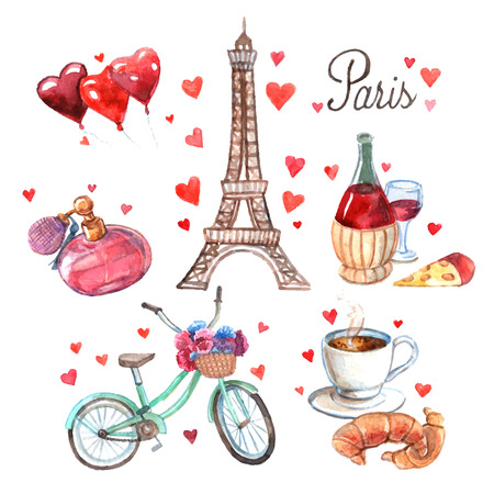 Photo pour Paris love romance heart symbols icons composition with eiffel tower and red wine watercolor abstract vector illustration - image libre de droit