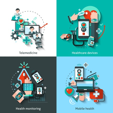 Foto de Digital medicine design concept set with telemedicine healthcare devices mobile health monitoring flat icons isolated vector illustration - Imagen libre de derechos