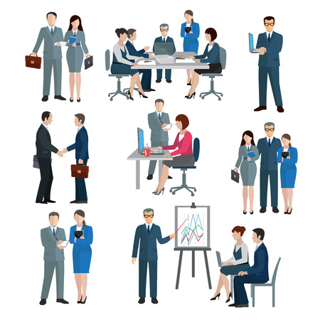 Illustration pour Office worker workgroup workflow businessmen and businesswomen icons set isolated vector illustration - image libre de droit