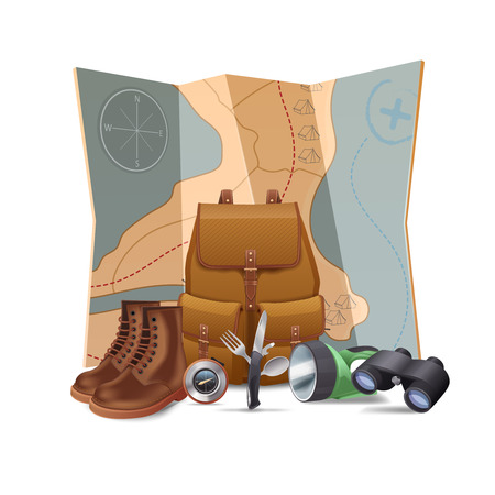 Illustration pour Tourism and hiking concept with realistic boots backpack binoculars vector illustration - image libre de droit