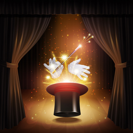 Ilustración de Magic trick poster with realistic magician cylinder gloves and stick with curtains on background vector illustration - Imagen libre de derechos
