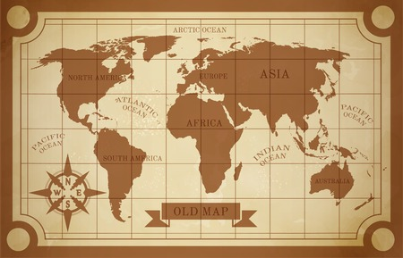 Illustration pour Old style world map vintage document travel poster vector illustration - image libre de droit