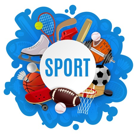 Illustration for Sport equipment concept with competitive games accessories and sportswear vector illustration - Royalty Free Image