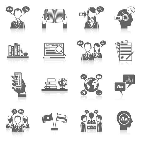 Illustration pour Translation and dictionary language education black icon set isolated vector illustration - image libre de droit