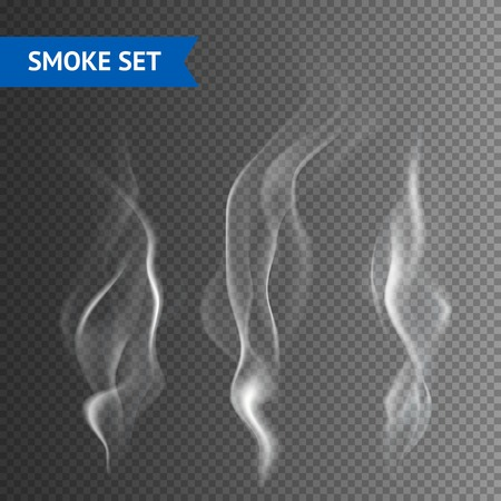 Illustrazione per Delicate white cigarette smoke waves on transparent background vector illustration - Immagini Royalty Free