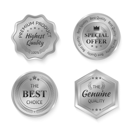 Illustration pour Silver metal genuine quality special offer badges set isolated vector illustration - image libre de droit