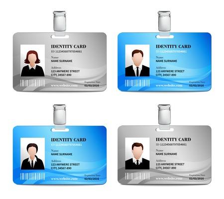 Ilustración de User id card realistic set with male and female photo templates isolated vector illustration - Imagen libre de derechos