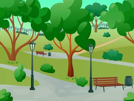Illustration pour Summer park alley 2d game landscape flat background vector illustration - image libre de droit