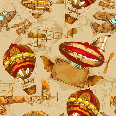 Illustration pour Aeronautic transport old style aviation machines seamless pattern hand drawn vector illustration - image libre de droit