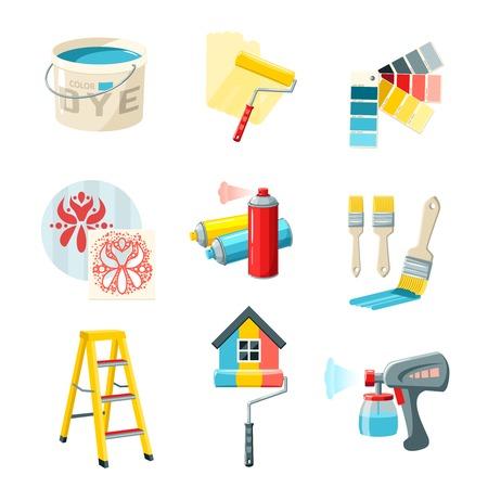 Illustration pour Painting work decorative icons set with bucket roller color palette isolated vector illustration - image libre de droit