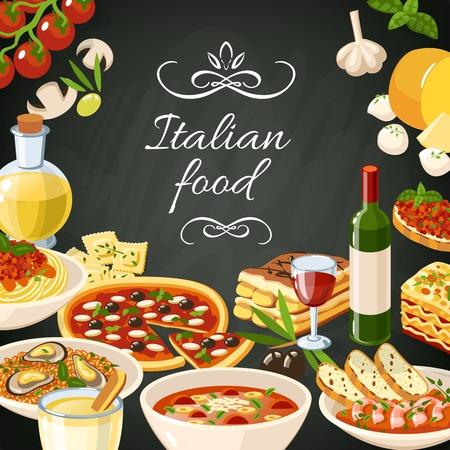 Ilustración de Italian restaurant food background with olives pasta garlic spaghetti pizza vector illustration - Imagen libre de derechos