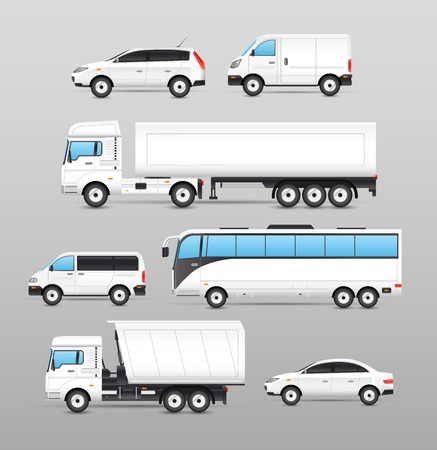 Illustrazione per Realistic transport icons set with car van bus truck isolated vector illustration - Immagini Royalty Free