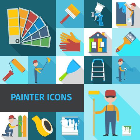 Ilustración de Painter cartoon character man flat shadow pictograms set with pail brush and ladder abstract isolated vector illustration - Imagen libre de derechos