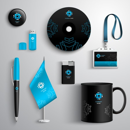 Foto de Corporate identity blue and black design set with cup pen cd and id card isolated vector illustration - Imagen libre de derechos