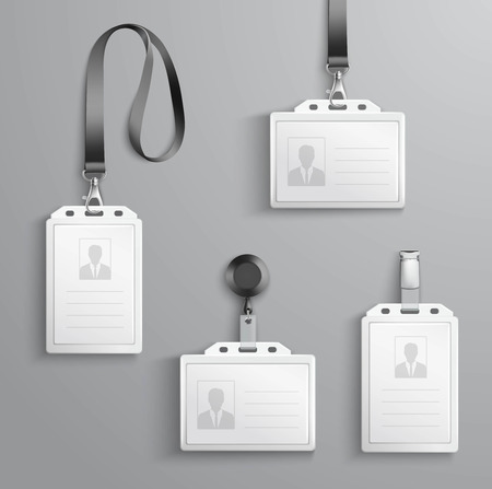 Illustration pour Identification white blank plastic id cards set with clasp and lanyards isolated vector illustration - image libre de droit