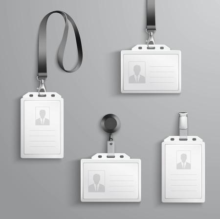 Ilustración de Identification white blank plastic id cards set with clasp and lanyards isolated vector illustration - Imagen libre de derechos