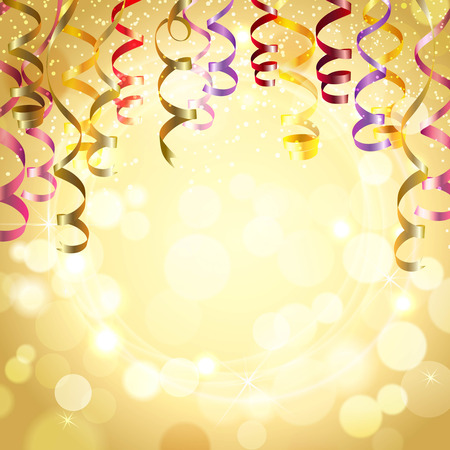 Ilustración de Celebration golden color background with realistic festive streamers vector illustration - Imagen libre de derechos