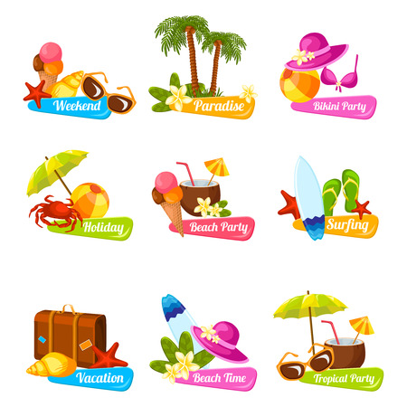 Illustration pour Beach time vacation surfing holiday paradise weekend bikini party emblems set isolated vector illustration - image libre de droit