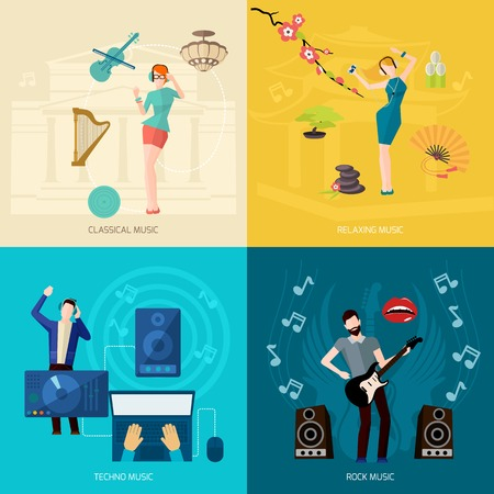 Illustration pour People listening music design concept set with classical relaxing techno rock flat icons isolated vector illustration - image libre de droit