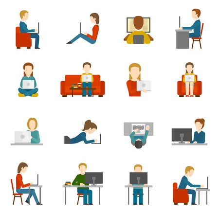 Illustration pour People working on computer and home and in office flat icons isolated vector illustration - image libre de droit