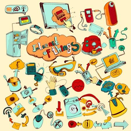 Ilustración de Internet of things doodles colored set with remote control home network elements vector illustration - Imagen libre de derechos