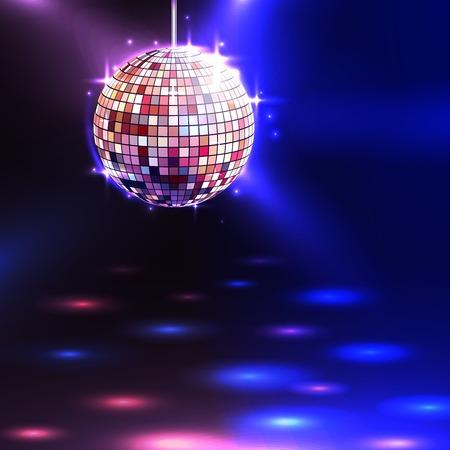 Ilustración de Modern illuminating disco ball sphere with spotlights disco background vector illustration - Imagen libre de derechos