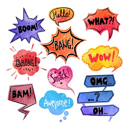 Illustration pour Watercolor comics speech bubble with expressions stickers set isolated vector illustration - image libre de droit